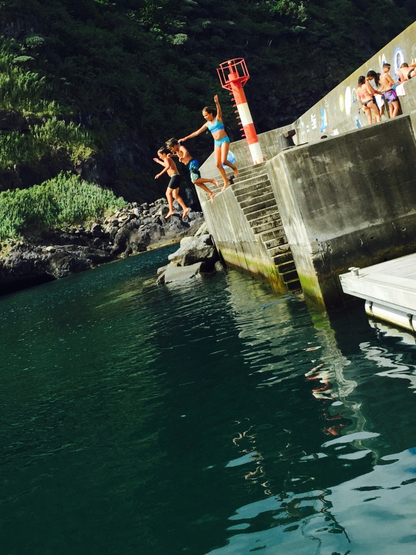 First day in Flores, swimming off the pier!
