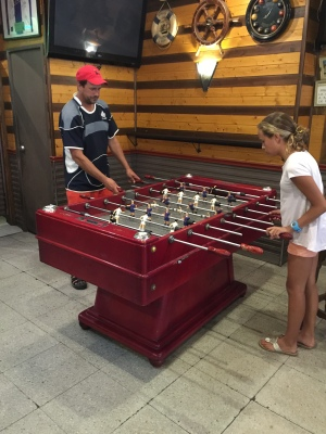 Foosball game after a big 2:30pm lunch